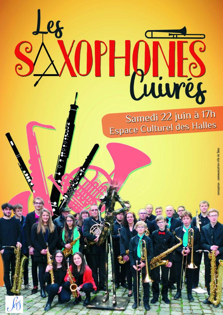 affiche saxophones cuivrés-sées